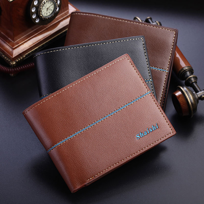 New arrival High Quality Solid leather Men Wallet with 6 card holders brand designer purse for