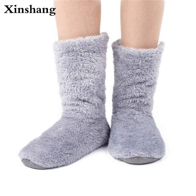 Xinshang Women Plush Home Shoes Slippers Coral Fleece Indoor Floor Sock Indoor Slipper Winter Foot Warmer Soft Bottom Slippers