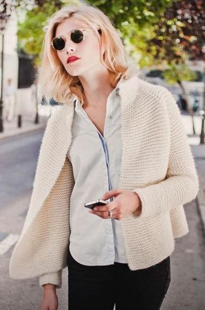 Women Cream White Cotton Cardigan Spring And Autumn Long Sleeve Open Stitch  Sweater Coat French Style ca3fac2ac