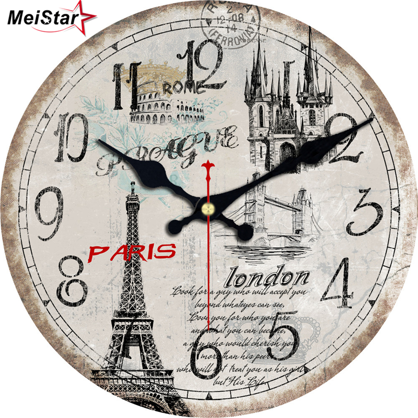MEISTAR 4 Size Vintage Tower Design Wall Clock Rustic Chic Office Cafe Home Decoration Wall Art Large Watches  Durable Mute Move