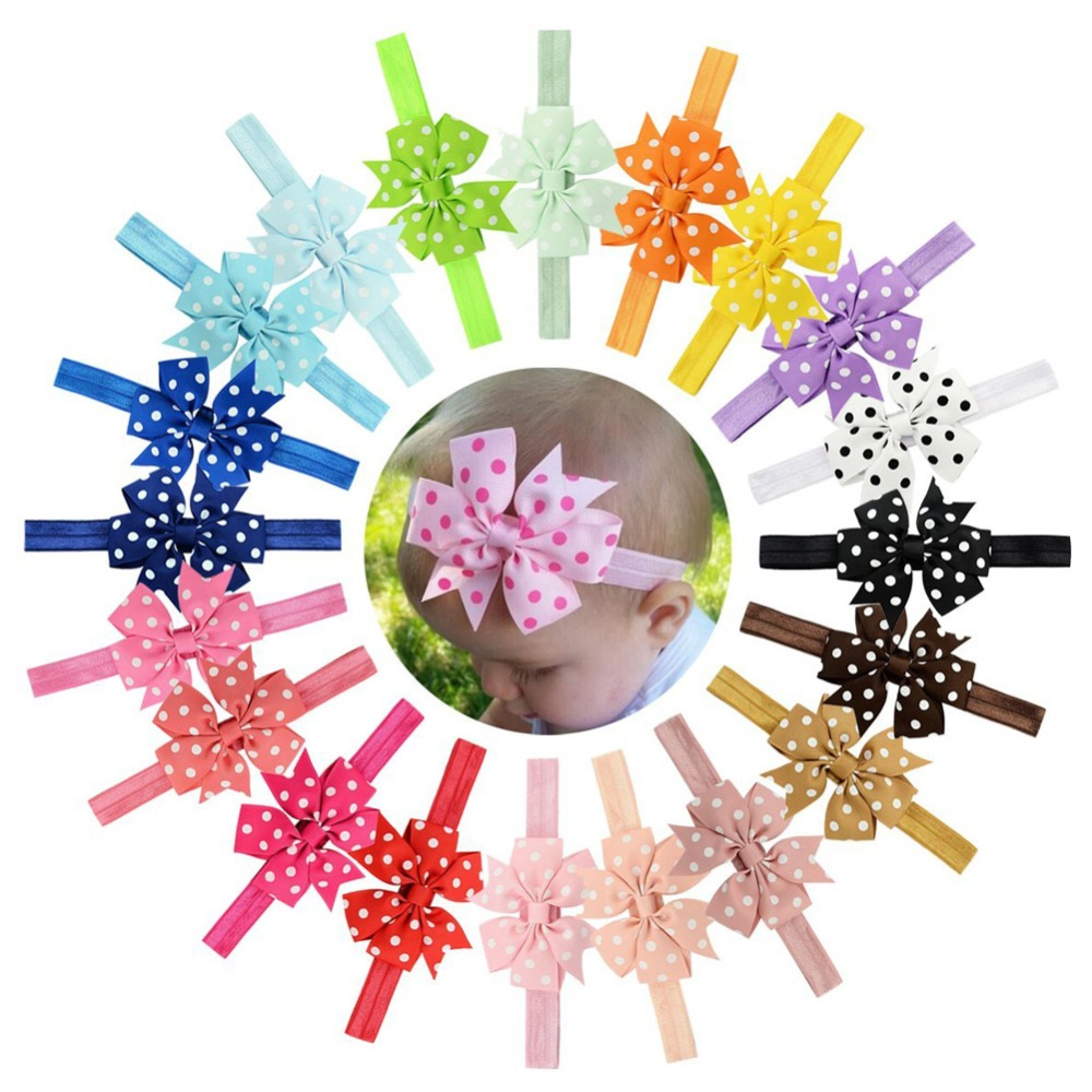 20pcs/lot  Ribbon Dot Bow Headbands Baby Girl flower Headband Solid Color Children Elastic Infant Kids Hairband 616