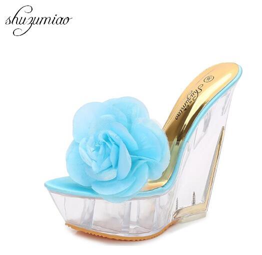 Женская обувь специальный кристалл на танкетке с цветком женские Водонепроницаемый противоскольжения Шлёпанцы для женщин летние толстые ...