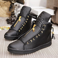 High-Top Genuine Leather Men'S Casual Shoes White Lace Skull Young Student Style Shoes Black And White Zipper Men Shoes