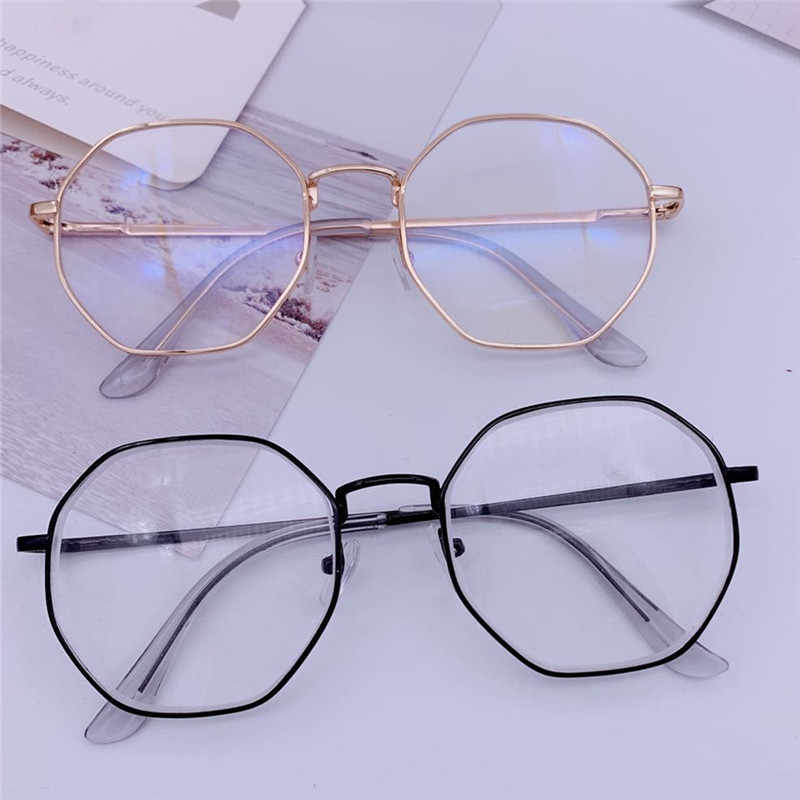 Men Vintage Anti Blue light Glasses Frame Round Women Lens Myopia Optical Mirror Simple Metal Anti-blue Clear Eyewear Frames