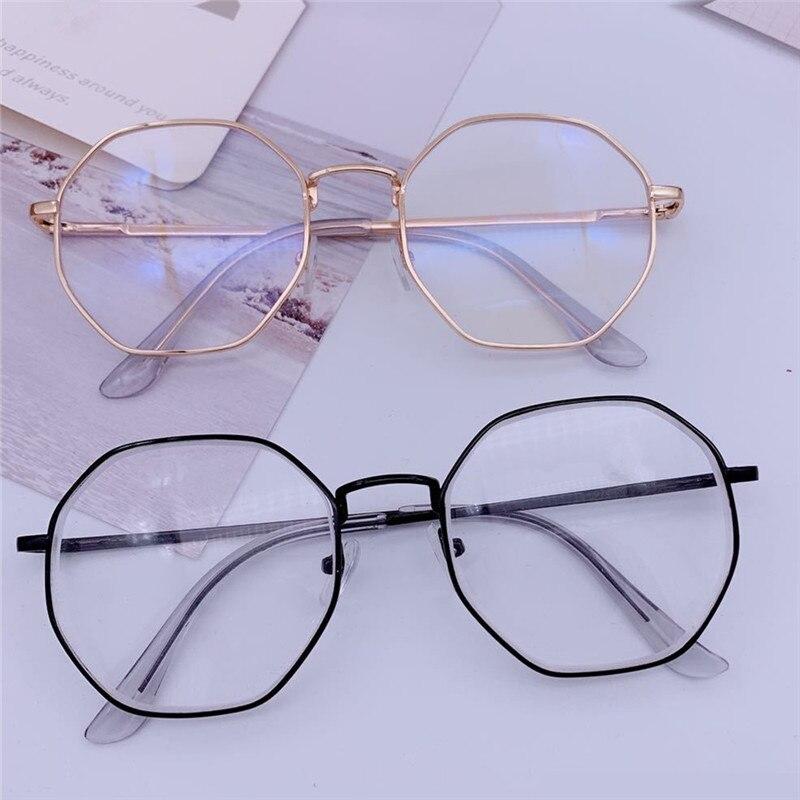 Gafas de protección contra luz azul Vintage para hombres, montura redonda para lentes de mujeres, espejo óptico para miopía, monturas de gafas transparentes simples de Metal Anti-azul
