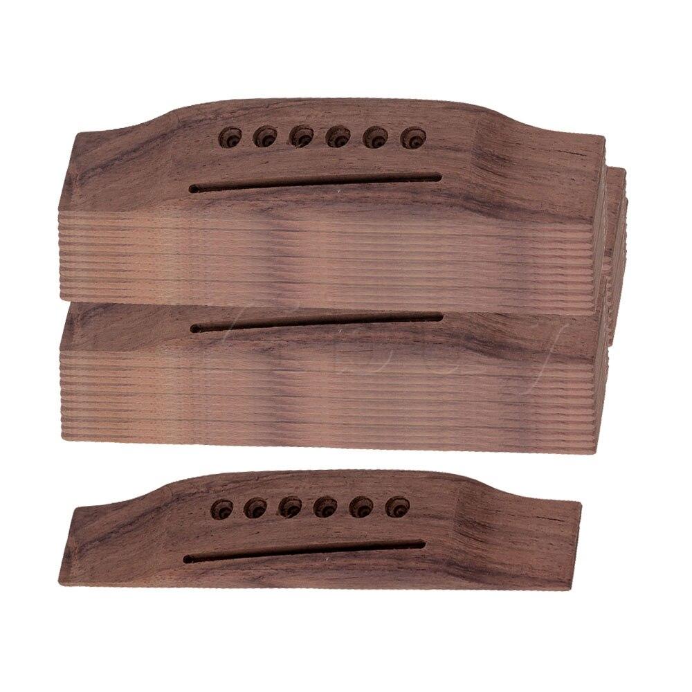 Yibuy 6 cordes palissandre selle à travers pont de guitare pour guitare acoustique Folk lot de 50
