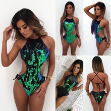 23cb68d3d3 Women Sexy Sleeveless Off The Shoulder Sequined Bodysuits Green Sequin  Leotard Bodysuits Embroidery Backless Rompers