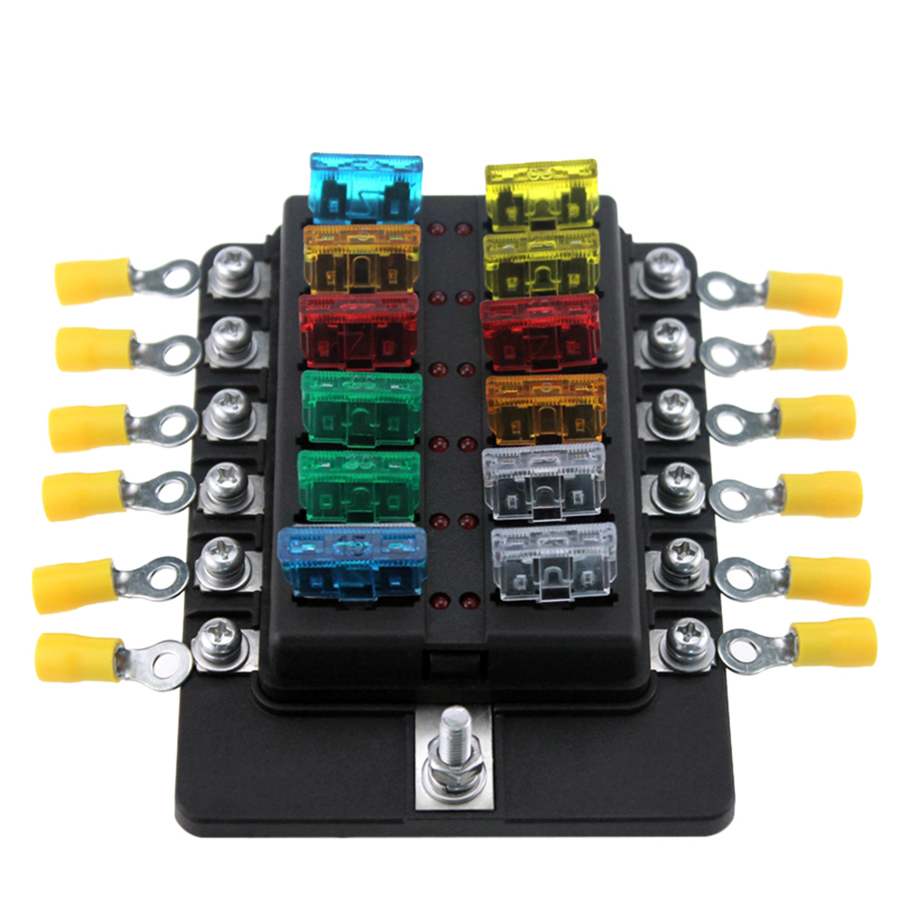 12 Way Blade Fuse Box Holder Fuse Blocks LED Indicator 10Pcs Fuses 10Pcs Terminals for Car Boat Marine Caravan Truck 12V 24V