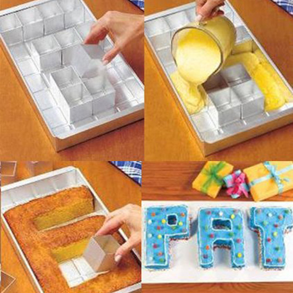 Image 3 - Cake Pan Molds DIY Aluminum Alloy Alphabet Letters Number Cake Tin Pan Fondant Baking Mold With 12pcs Square Blocks (Silver)Cake Molds   -