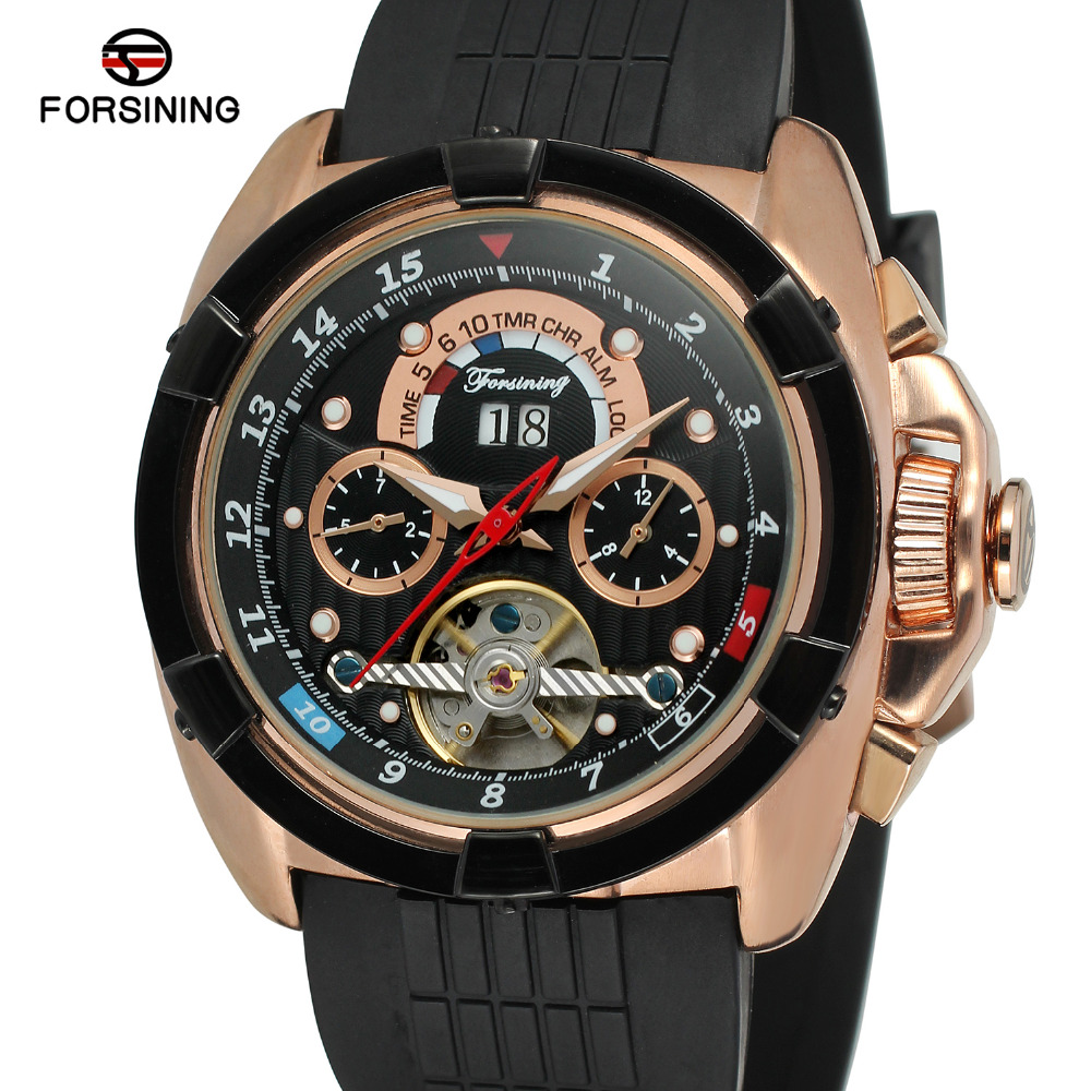 Forsining Mens Watch  Automatic Self-wind  Rubber Band Calendar Tourbillion Wholesale Brand New Wristwatch Color Black FSG291M3Forsining Mens Watch  Automatic Self-wind  Rubber Band Calendar Tourbillion Wholesale Brand New Wristwatch Color Black FSG291M3