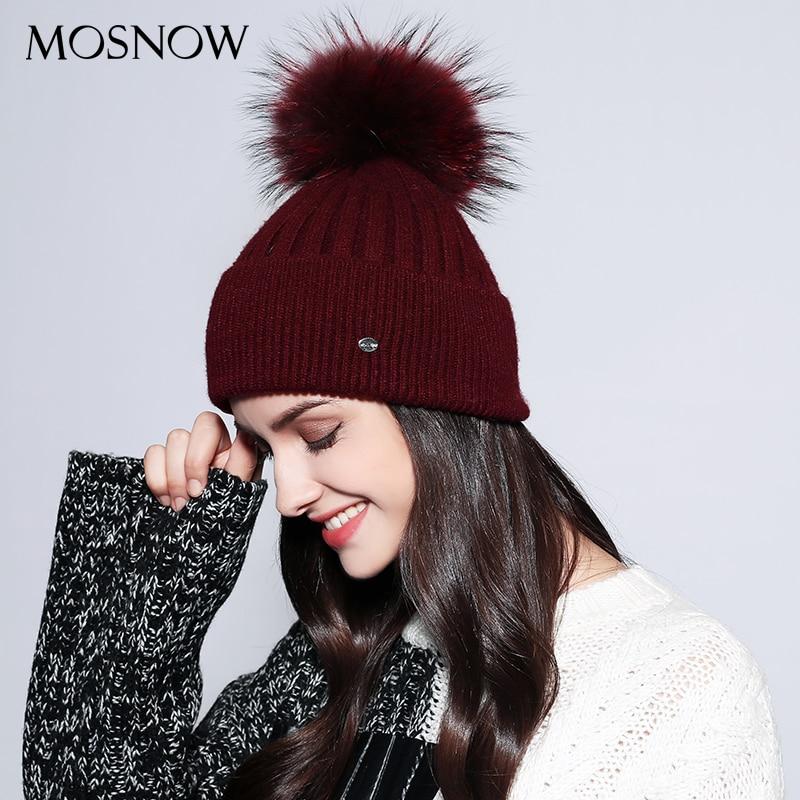 MOSNOW Women's Winter Hats Solid 2018 Autumn Winter Real Raccoon Fur Pompom Skullies Beanies Cotton Wool Warm Knitted Cap #MZ750