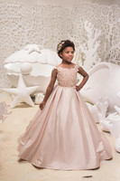 Cheap Blush Pink Satin Flower Girls Dresses For Weddings 2019 Lace Appliqued Jewel Neck Kids Formal Wear With Cap Sleeve Girls