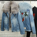 Women's Fur The Coat Winter Casual Genuine Natural Fox Fur Liner Jacket Denim Coats With Real Raccoon Dog Fur Collar 161107-1