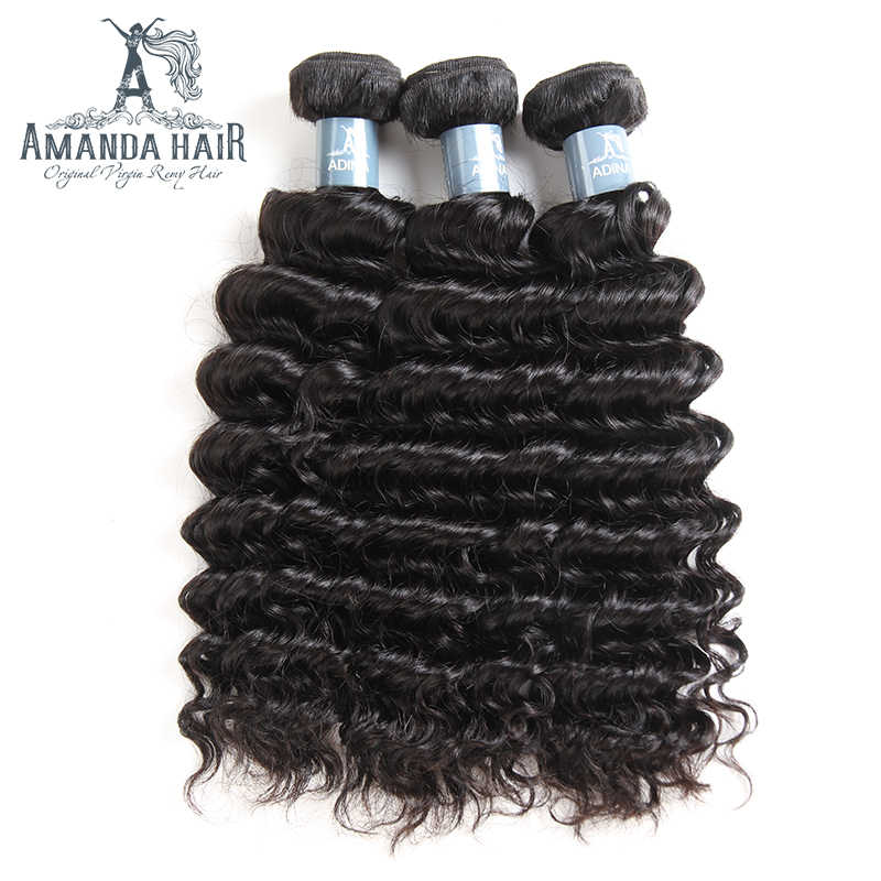 Amanda Peruvian Virgin Hair 3 Bundles Deep Wave Human Hair Extensions Natual Color Cuticle Aligned Hair No Shedding Tangle Free