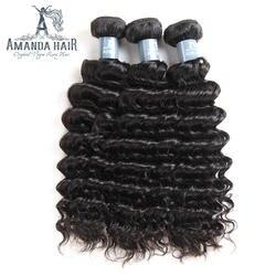 Аманда перуанский Девы волос 3 Связки глубокая волна Пряди человеческих волос для наращивания Natual Цвет кутикулы выровнены волос не потеряв