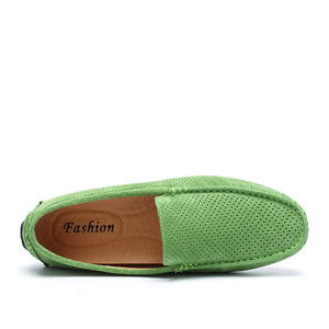 Image 2 - AGSan Summer Men Loafers Genuine Leather Casual Shoes Fashion Slip On Driving Shoes Breathable Moccasins Green Suede Loafers
