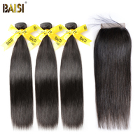 BAISI Straight Peruvian Virgin Hair Bundle Human Hair Extensions 3 Bundles With Closure Nature Color Free