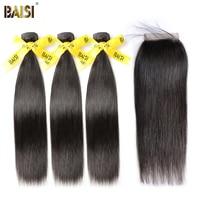 BAISI Straight Peruvian Virgin Hair Bundle Human Hair Extensions 3 Bundles With Closure Nature Color Free