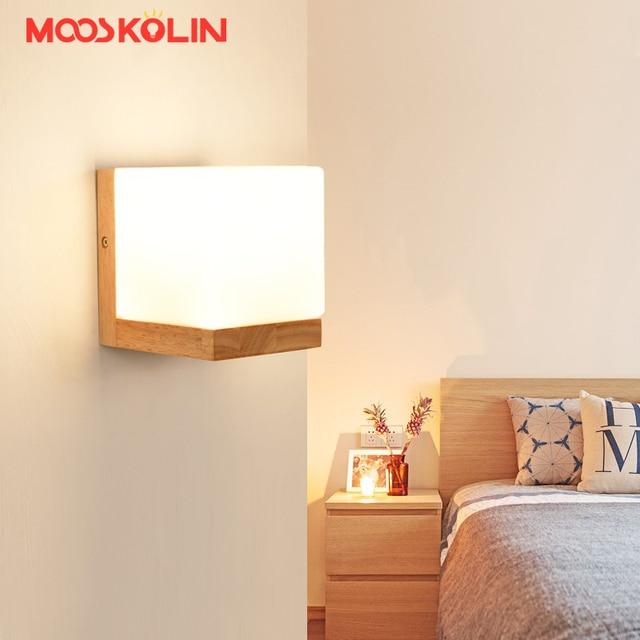 Wandleuchten Wohnzimmer | Minilism Wandleuchten Massivholz Milchglas Schatten Wandleuchten