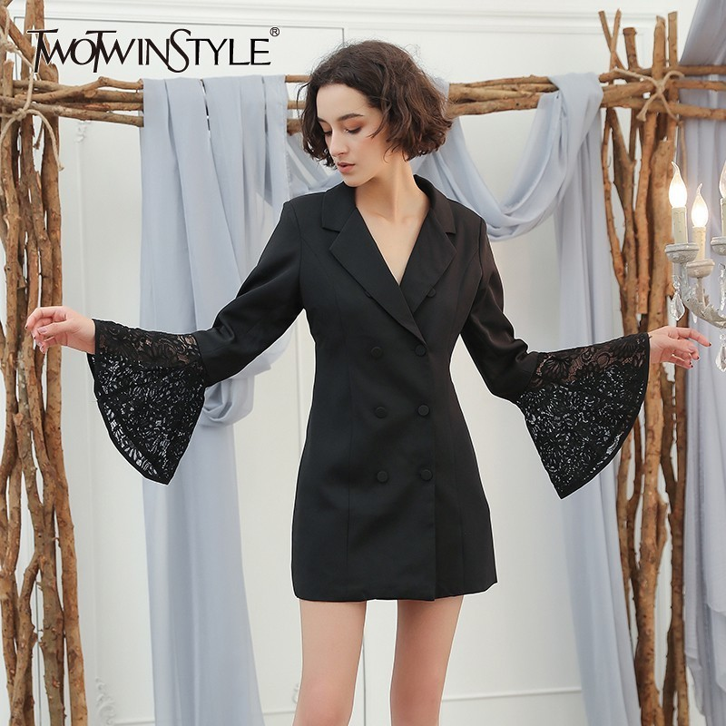 TWOTWINSTYLE Lace Blazer For Women Hollow Out Patchwork V Neck Flare Sleeve Double Breadsted Tunic Plus Size Autumn Elegant 2019