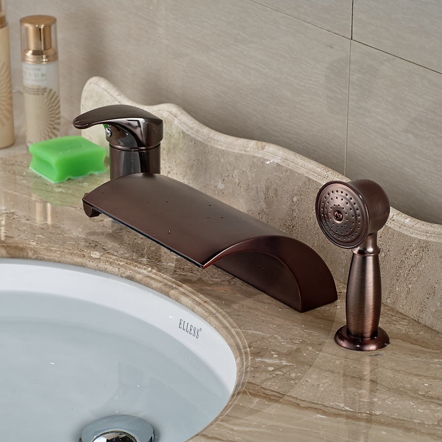 amazon qondgl faucets rubbed bathroom bronze tub roman bath sink dp waterfall on faucet widespread contemporary touch oil com