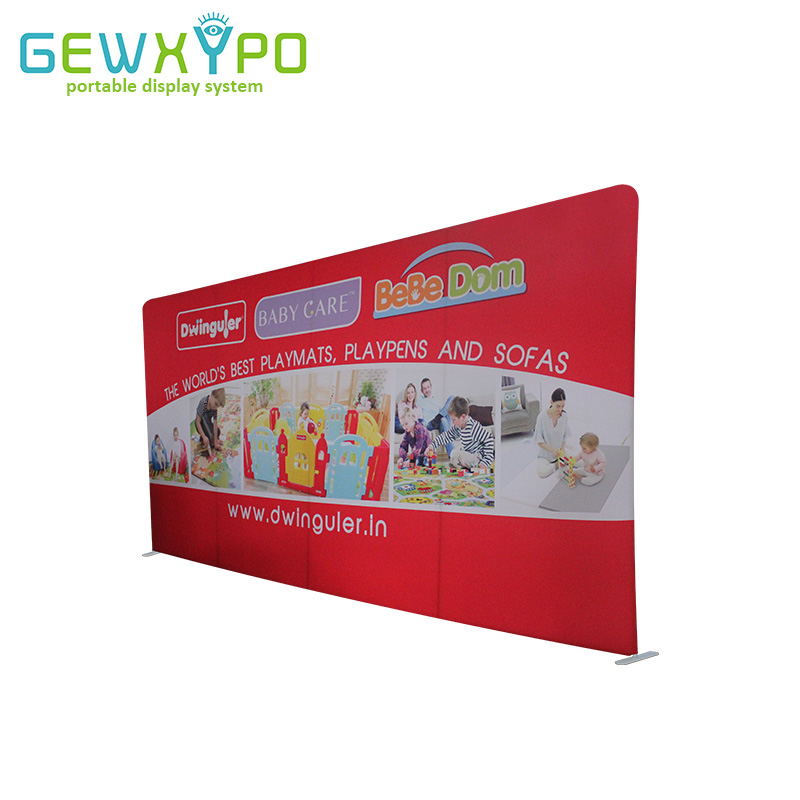 20ft*10ft Exhibition Portable Flat Tension Fabric Advertising Display Stand With Printed Banner,Popular Aluminum Tube Backwall