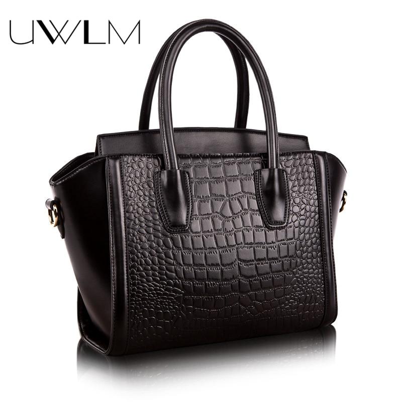 Women Leather Handbags Crocodile Embossed 100% Genuine Cow Leather Handbag for Women Famous Brands Hobo Totes Shouder Top-Handle multi zips crocodile embossed handbag
