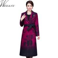 Wmwmnu Women Winter Printing Coats Long Wool Like Overcoats 2017 Autumn New Casual Style Oversized Long