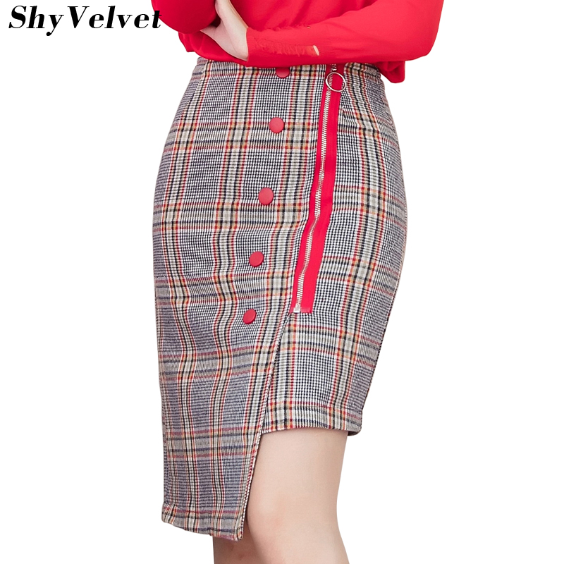 High Waist Asymmetrical Plaid Skirt Women Midi Skirt 2018 Autumn Winter Fashion Button Zipper Woolen SKirts Womens Faldas