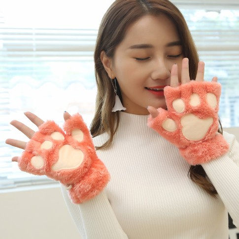 Half Refers To The Lovely Gloves Female Qiu Dong The Bear Paw Gloves More Cute Cartoon Cat's Paw Gloves To Keep Warm