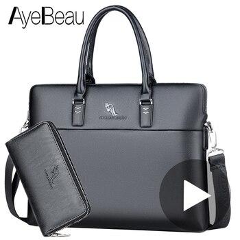 Tragbare Arbeit Business Büro Männlichen Messenger Tasche Männer Aktentasche Für Dokument Laptop Computer Handtasche Schulter Kurze Fall Satchel