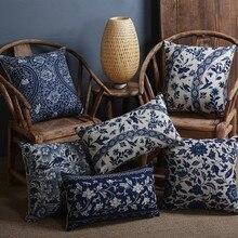 Vintage azul y blanco estampado de porcelana funda de cojín sofá decorativo cojín silla de coche funda de cojín de decoración para hogar almohadas