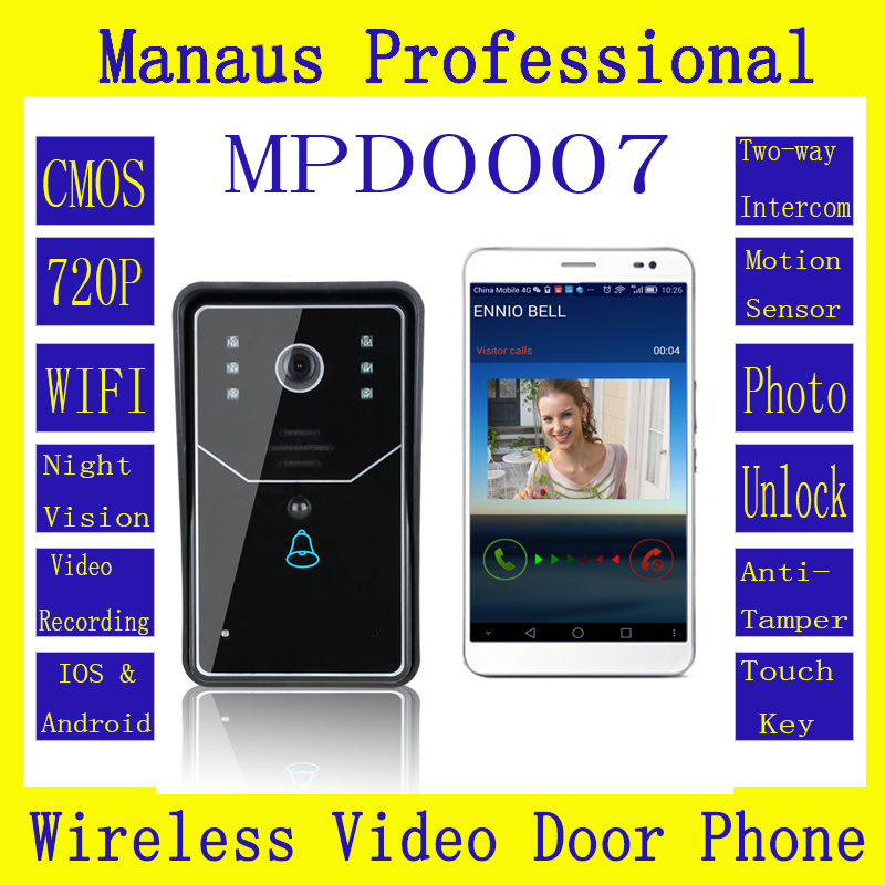 D7C High Quality Touch Key WiFi Door Bell Wireless Video Door Phone Home Intercom System Night Vision Camera wireless smoke fire detector for wireless for touch keypad panel wifi gsm home security burglar voice alarm system