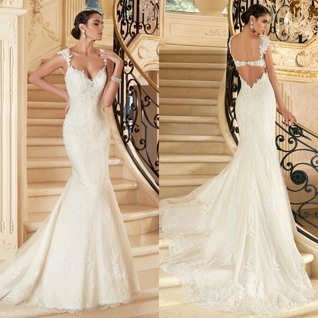 Lace Trumpet Wedding Dresses 2015 Sweetheart Cap Sleeves Appliques ...