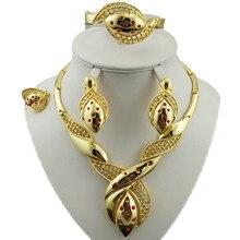 Conjuntos de joyas de oro de 24k, conjunto de joyería nupcial, conjuntos de grandes joyas africanas, joyas de chapado en oro, conjunto de collar para mujer