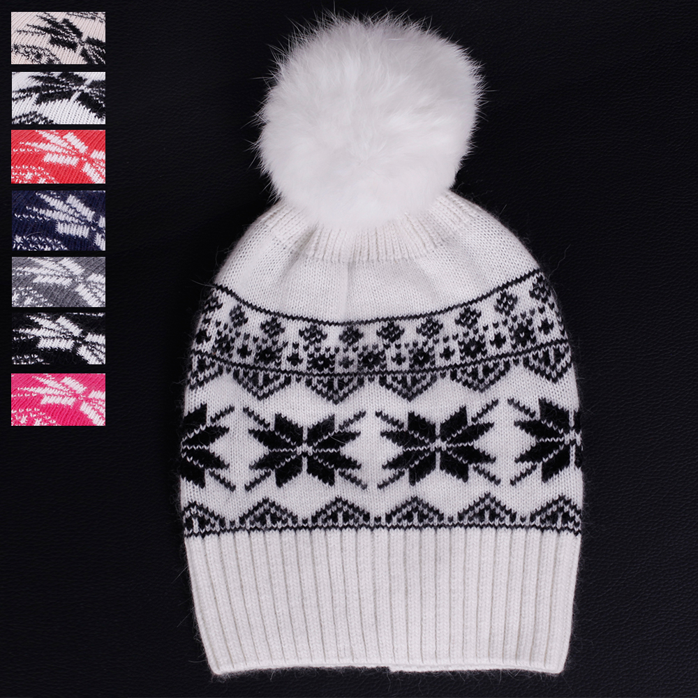 Hot Sales ! Real pom poms wool rabbit fur knitted hat Skullies winter hat for women girls hat female beanies knit hat Snow caps литой диск replica td sk11 s 6 5x16 5x112 d57 1 et46 gmf