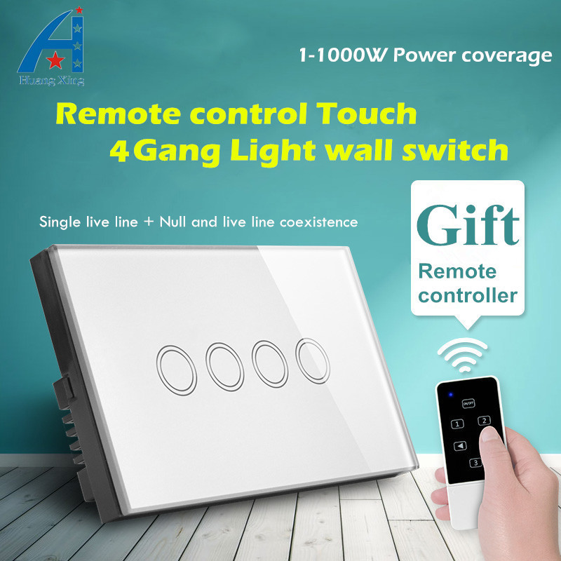 HUANGXING AU/US Standard, Crystal Glass Panel 1000W Remote Control Wall Switch, 4Gang AC110~240V Touch Switch Wall Light Swtich smart home us black 1 gang touch switch screen wireless remote control wall light touch switch control with crystal glass panel