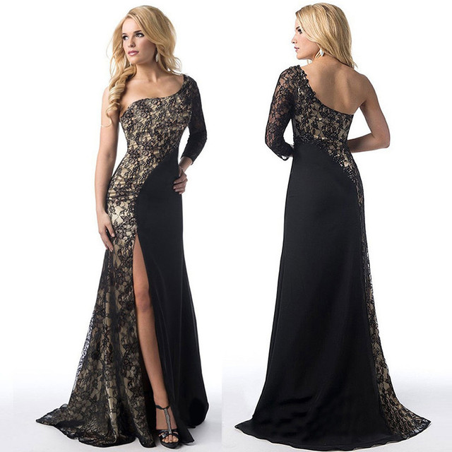 8e71fb9b384 Womens One-shoulder Lace Stitching Split Maxi Dress Evening Party Sexy Long  Sleeve Irregular Bodycon Dresses Robe Vestidos Black
