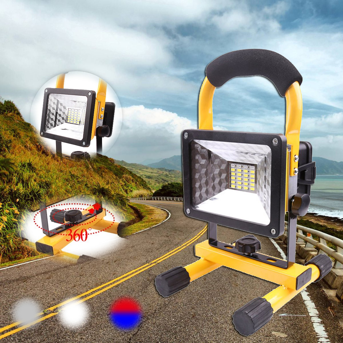 цена на 1Set 30W 24LED Portable Rechargeable Flood Light LED Work Light Camping Outdoor Lawn Lamp