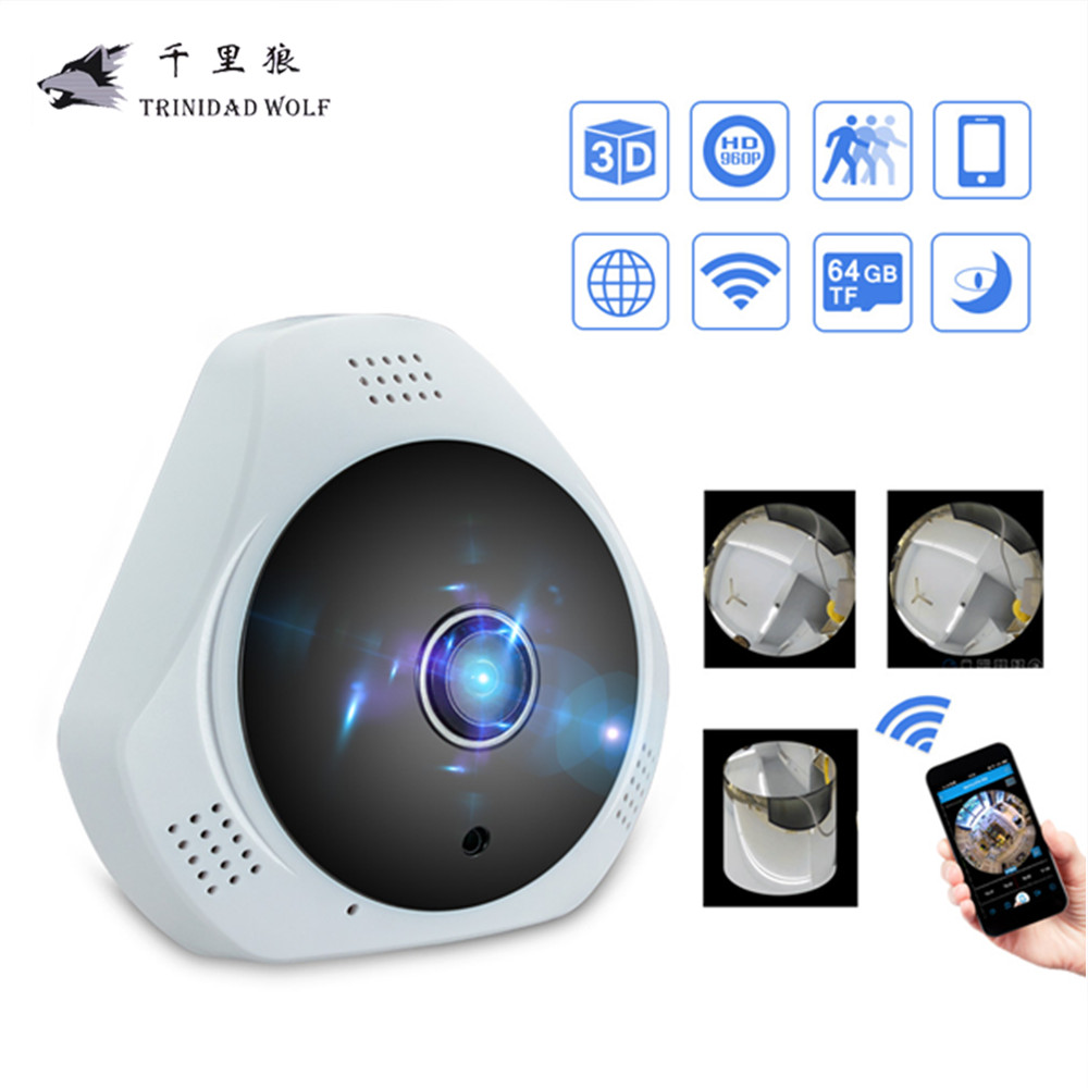 960P 3D VR WI-FI Camera 360 Degree Panoramic IP Camera 1.3MP FIsheye Wireless Wifi Smart Camera Hand Cruise Motion Detection vr360 panoramic camera wi fi remote control sports action camera