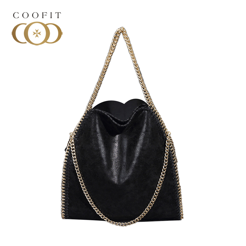 Coofit Women Messenger Shoulder Bags PU Falabellas Hobo Clutch Chains Evening Socialite Tote Sac A Main Female Stylish Handbag stylish chains and rivets design women s tote bag
