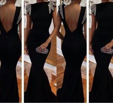 free shipping robe de soiree 2014 new sexy backless vestidos fiesta long prom girl party Mermaid evening elegant gown Dress