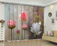 2017 New Curtains for Windows Drapes European Modern Lotus 3D shade curtain for living room bedroom