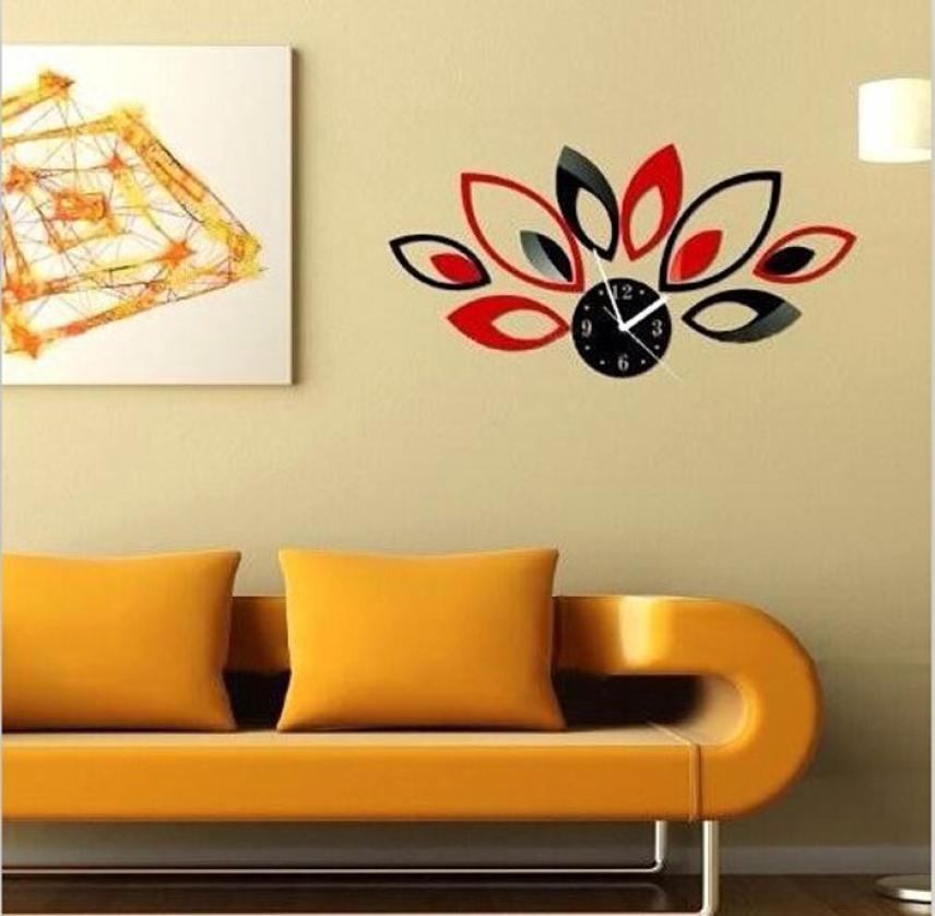 Modern Flower Sticker DIY Mirror Wall Clock Wall Sticker Home ...