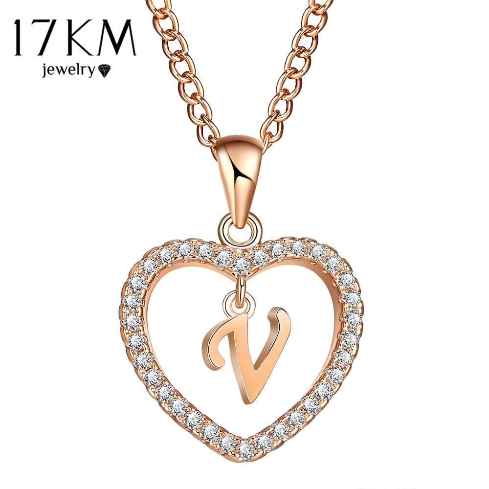 17 км от A до Z письмо имя ожерелья & Подвеска для Для женщин модные длинной цепи сердце ожерелья кубический цирконий DIY Jewelry подарки ...
