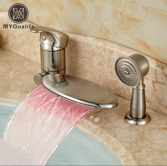 Brushed Nickel Single Handle 3pcs Bathroom Tub Faucet Bathroom ...