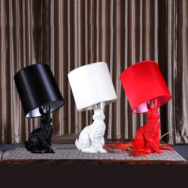 ФОТО Brief modern rabbit table lamp resin cloth lighting for bedroom Black,White,Red 80-260V