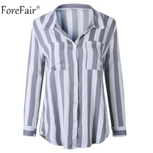 Forefair Casual Gray Striped Blouse Tops Women Autumn 2018 Office Ladies Tops Fall Coat Shirt Female Long Sleeve Blouse