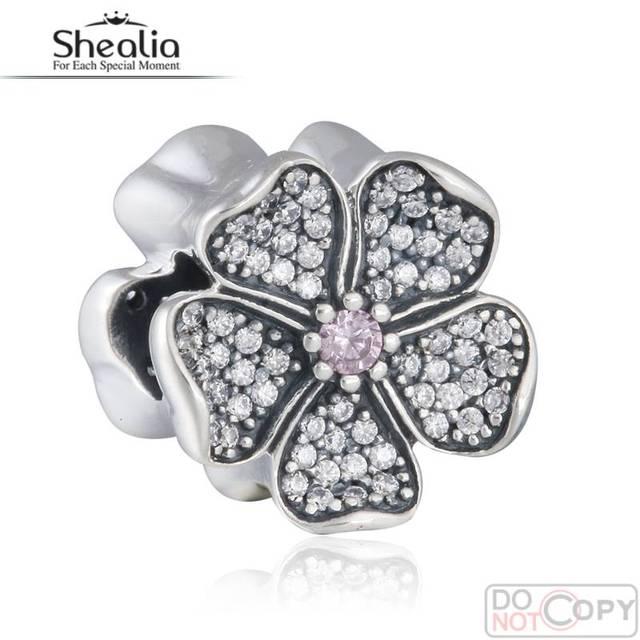 Fit Pandora Bracelet DIY Espumante Cz Pave Maçã Flor Encantos Beads Shealia 925-Sterling-Silver 2016 Primavera Jóias BD348