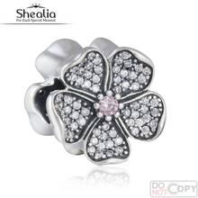 Fit Pandora Pulsera DIY Espumosos Cz Joyería Pavimenta Granos de Los Encantos de Apple Blossom 925-Sterling-Silver 2016 Primavera Shealia BD348